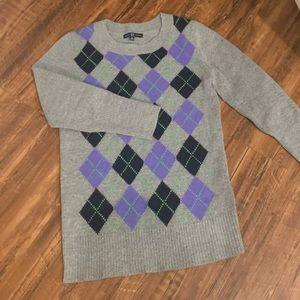 Argyle sweater 3/4 length sleeves